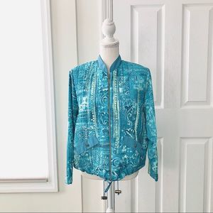 Vintage Peter Popovitch Turquoise Quilted Jacket